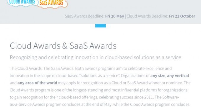 Cloud Awards Announces International Software-as-a-Service (SaaS) Awards Platform for May 2016