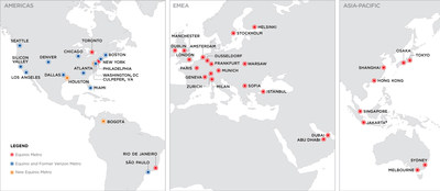 Equinix acquisition of Verizon data centers map (PRNewsfoto/Equinix, Inc.)